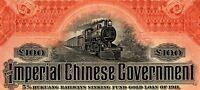 CHINA GOVERNMENT 1911 HUKUANG RAILWAY £100 BOND -BANK OF NEW YORK