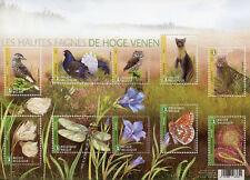 Belgium 2017 MNH High Fens 10v M/S Owls Birds Butterflies Flowers Nature Stamps