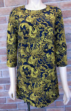 DOTTI Vintage 60s Inspired Mustard / Navy Retro Pattern Shift Dress ~ Sz 8