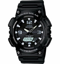 Casio Solar Analog/Digital Watch, Black Resin, 100 Meter, 5 Alarms, AQS810W-1AV