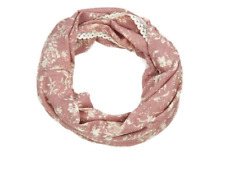 Women Ladies Dusky Pink Floral Snood Circle Loop Fashion Shawl Scarf Lace Trim