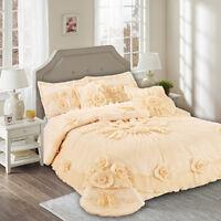 Tache 6PC Solid Floral Peachy Keen Peach Pink Wedding Bedding Comforter Set