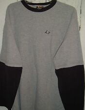 Drunknmunky Long Sleeve Ribbed layer look 100% Cotton Black Grey shirt 2XL