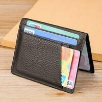 Black ID Card Holder Case Men Women RFID Blocking Card Wallet Credit