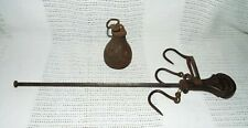 ANTIQUE  STEEL HANGING KITCHEN GAME MEAT SCALES SLIDE MEASURE WITH HOOKS!!!