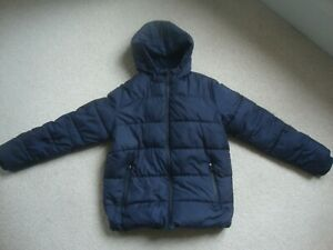 M&S boy's navy coat - hooded, thick and warm age 11-12