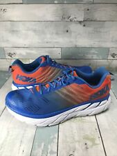 Hoka One One Mens Clifton 6 Mandarin Red Imperial Blue Running Shoes Size 12