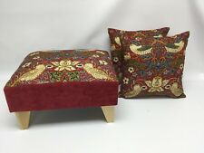Footstool pouffe William Morris Red Strawberry thief light wood feet + 2 cushion