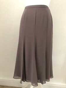 Jacques Vert Taupe Brown Floaty Chiffon Flared Midi Skirt Size 10 Lined BNWT