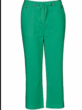 Kaleidoscope Size 10 Green Linen Rich Cropped TROUSERS Summer Holiday New Fab