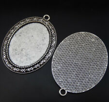Setting Tray 40*30mm Jewelry 50224 5pcsVintage Silver Alloy Patterned Oval Cameo