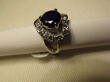 BAGUE Bleu Glamour or blanc Ring Anello 18K GOLD FILLED COEUR T56 New