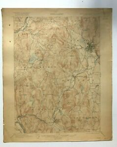 Antique 1917 Geological Survey Topographic Map NH Keene Swanzey Winchester Other