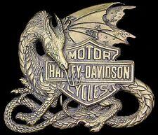 Rare Vtg 1983 Harley Davidson Motorcycle Flying Dragon Brass Baron Belt Buckle