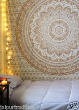 Indian Mandala Tapestry Hippie Wall Hanging Bohemian Gold Bedspread Throw Decor0