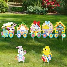 Jetec Easter Yard Signs Outdoor Lawn Decorations 7 Pieces Easter.