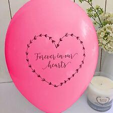 10 Rosa Brillante 'per sempre nei nostri cuori Funerale RICORDO Condoglianze Palloncini
