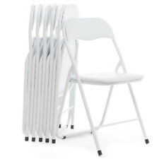 Sedie pieghevoli set da 6 in metallo imbottite colore bianco salvaspazio offerta