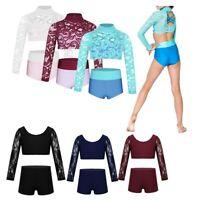 Kids Girls Dance Outfit Ballet Gym Leotard Lace Long Sleeve Crop Top+Shorts 6-14