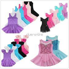Girls Leotard Dress Ballet Dance Gymnastic Tutu Skirt Dancewear Costumes 2-14Y