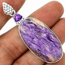 Siberia Charoite & Amethyst 925 Silver Pendant  Jewelry PP19859