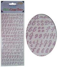 Hoja de pegatinas de elaboración de tarjetas, letras del alfabeto y números, Adorno De Gema-Rosa