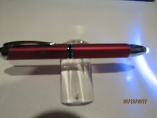 POLICE/EMT SQUARE LIGHTED Ballpoint Pen+Flashlight+Conductive Stylus-RED+Pouch