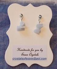 GEMINI ZODIAC BIRTHSTONE BLUE LACE AGATE SEMI-PRECIOUS GEMSTONE earrings
