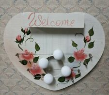 New listing Vintage Wood Door Harp Hand Made & Painted Heart Shaped 4 Balls On String Chimes