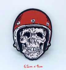 Skull Biker with helmet Iron on Sew on Embroidered Patch #1380