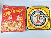 Vintage 1950's Disney Mickey Mouse Spin-N-Win Tin Litho Ungar Toy w/ Box