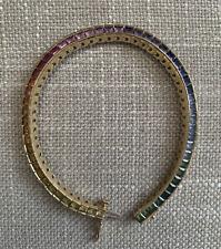 Solid 14k Yellow Gold Rainbow Multi Sapphire Tennis Bracelet Stephanie Gottlieb