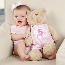 Mud Pie MK6 Baby Girl Pink Milestone Plush Bear Photo Shoot Toy 2112258