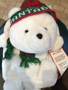 Vintage 1986 Santa Bear Backpack Christmas Dayton Hudson B. Dalton W/tag Scarf