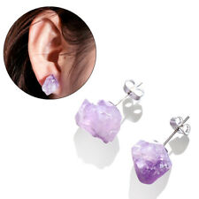 Jewelry Raw Amethyst Earrings Ear Stud Natural Crystal Quartz Irregular Stone