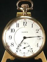 ILLINOIS 17 JEWEL GRADE 304 SIZE 16 MODEL 7 OPEN FACE GF 1912 POCKET WATCH