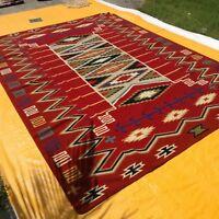 SOUTHWESTERN Wool Navajo Kilim Rug 9x12ft Handmade Red and Beige CAUCASIAN STYLE