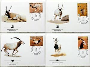 1985 Addax Oryx Niger Animals Wild Wwf 4 Covers FDC 16