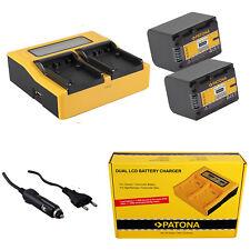 2x Batteria Patona + caricabatteria rapido DUAL LCD per Sony FDR-AX100E,FDR-AX30