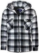 Mens Sherpa Fleece Lined Lumberjack Style Hooded Workshirt White & Black - New