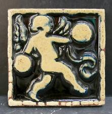 Antique Grueby Cupid Tile Glossy Black