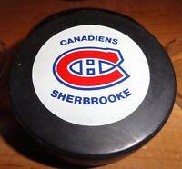 SHERBROOKE CANADIENS  AHL INGLASCO  HOCKEY PUCK MADE IN CANADA