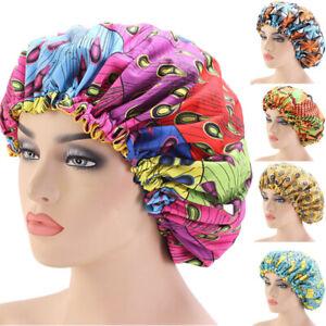 Extra Large Sleep Cap African Print Satin Lined Bonnets Night Sleep Hat Turban U