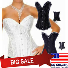 Sexy Black or White Bridal Corset Beaded Ruffle Lace Trim Floral Lace Up M-6XL