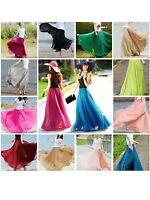 Ladies Double Layer Chiffon Pleated Retro Long Maxi Dress Elastic Waist Skirt