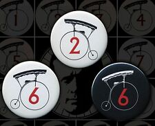 The Prisoner Penny Farthing Portmeirion 3 Buttons Badge Patrick McGoohan #2 & #6