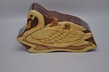 Swan Mother with Two Babies Intarsia Carved Wooden Puzzle Box