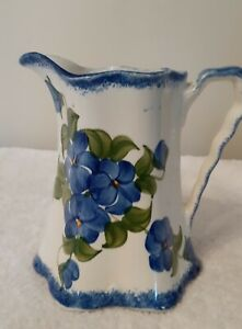 CASH FAMILY ART POTTERY HAND PAINTED ERWIN TENNESSEE CREAMER PITCHER BLUE FLOWER