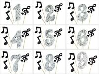 "MUSICAL Print w/ 3 GLITTER Notes Birthday NUMBER 5.5"" Cake Topper Choose Number"