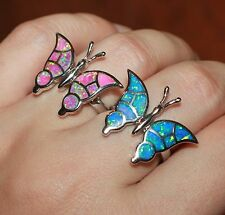 fire opal ring 6 6.5 gemstone silver jewelry engagement cocktail Butterfly band